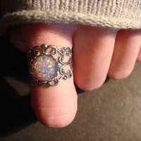 Fire Opal Antique Silver Filigree Ring by CreepyCreationz on Etsy