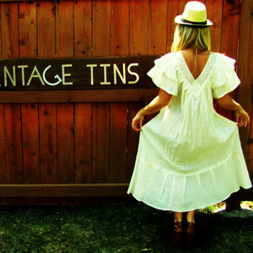 vintage ivory boho hippie festival summer dress.