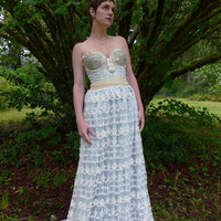 Once Upon A Time wedding or formal gown...whimsical woodland fairy fantasy dress boho antique vintage inspired free people bustier lace blue