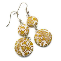 Yellow and White Round Drop Earrings Lace by KireinaJewellery