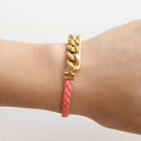 Gold chunky chain with pink leather braid Bracelet by TheUrbanLady