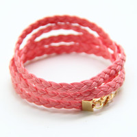 Braid Leather Pink wrap Bracelet  twisted 4 time  by TheUrbanLady