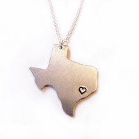 On Sale - Hand Stamped Heart Texas State Sterling Silver Necklace / Gift for Her