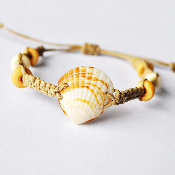 Beachy Seashell Hemp Bracelet with wood beads, seashell jewelry, beach bracelet, surfer bracelet