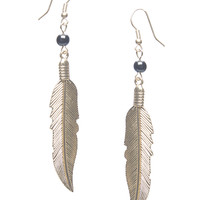 Bead & Textured Leaf Earrings | Wet Seal