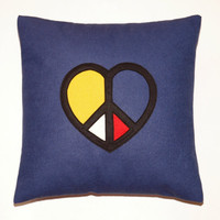 PEACE and LOVE Heart Sign Pillow Black Yellow Red by gGlinParis