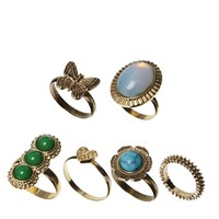 ASOS Butterfly & Stone Ring Multipack
