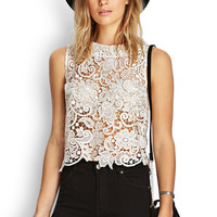 Metallic Crochet Floral Top