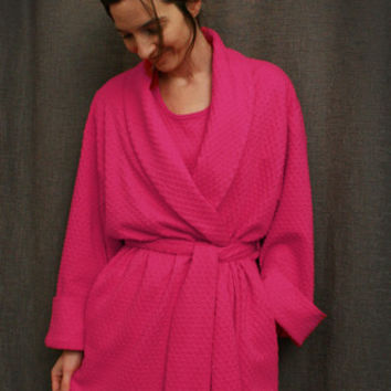 Hot Pink Short Shawl Collar Robe Cotton Dot, Made In The USA, | Simple Pleasures, Inc.