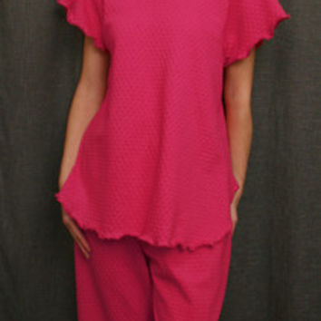 Hot Pink Short Sleeve Top & Palazzos Cotton Dot, Made In The USA | Simple Pleasures, Inc.