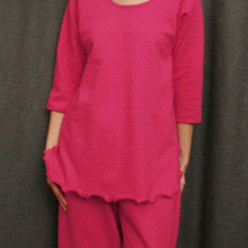 Hot Pink 3/4 Sleeve Top & Palazzos Cotton Dot, Made In The USA | Simple Pleasures, Inc.