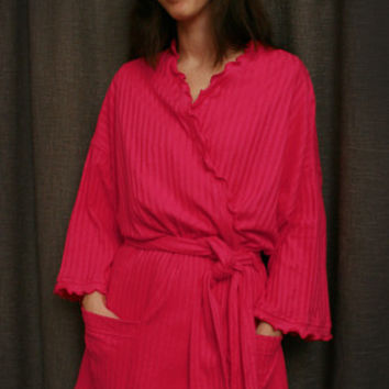 Hot Pink Short Wrap Robe Cotton Dot, Made In The USA, | Simple Pleasures, Inc.