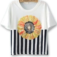 Cute Beaded Sunflower Tee - OASAP.com