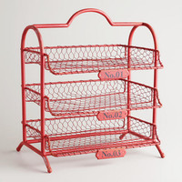 Red Austin 3-Tier Wire Tray - World Market