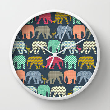 baby elephants and flamingos Wall Clock by Sharon Turner | Society6