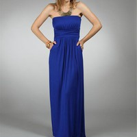 Royal Strapless Maxi Dresses