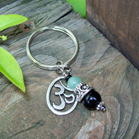 Om Charm and Gemstone Pendant Key Ring