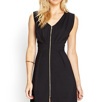 Zip-Front Knit Dress