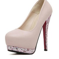 Nude Pink Pumps w/ Glitter Detailed Heels