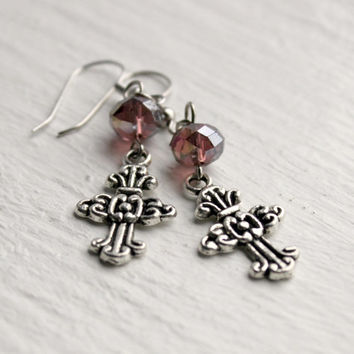 Simple Plum and Silver Beaded Cross Dangle Earrings - Handmade Christian Jewelry - Gift Idea - Ready to Ship