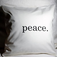 "Peace 18"" Throw Pillow Cover White Cotton Twill 