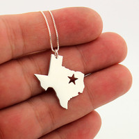 State necklace Texas necklace sterling silver Texas state necklace with Star  comes with Box chain (org 1)