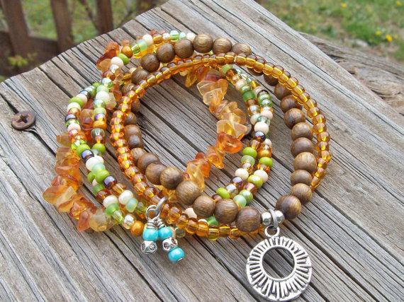 Honey Chipped Glass - Green and Amber Mix Stacking Beaded Summer Bracelets