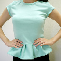 DALLAS Peplum Top//Peplum Blouse//Rockabilly Retro Vintage Inspired Top//1950s Inspired//Mad Men Inspired Blouse//6 COLORS, Sizes XXS-3X