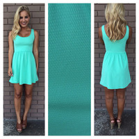 Mint Texture Let's Play Babydoll Dress