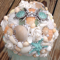 Turtle Starfish Bouquet, Seashell Tiffany Blue Peach Beach Wedding,