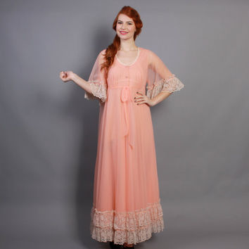 60s Peach JENELLE Peignoir SET / Nightgown & Sheer Chiffon Sweep Robe, s