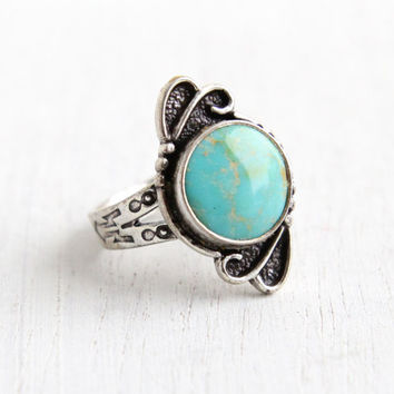 Vintage Sterling Silver Turquoise Ring- Size 5.5 Retro Hallmarked Bell Trading Co Southwestern Native American Style Jewelry