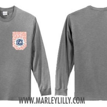 Monogrammed Printed Pocket Crew T-Shirt | Preppy T-Shirts | Marley Lilly