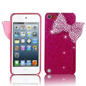 Mavis's Diary New 3D Handmade Luxury Crystal Pink Bow Bling Cover Hard Case for Ipod Touch 5 5th Generation with Soft Clean Cloth