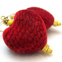 Gold and Red Velvet Heart Earrings by silverriverjewelry on Etsy