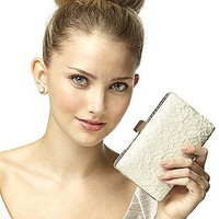 Crocheted Lace Bridal Clutch: The Dessy Group