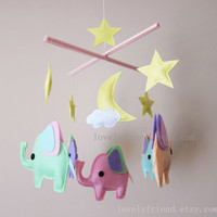 "Neutral Baby Mobile - Baby Crib Mobile - Elephant Nursery Mobile - ""Good Night Baby Elephants"" Mobile (Custom Color Available)"