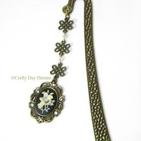 Victorian Style Butterfly and Flower Cameo Brass Shepards Hook Bookmark | CraftyDayDreams - Paper/Books on ArtFire