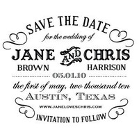 Custom &quot;Typography&quot; Save the Date Stamp | antiquariadesignstudio