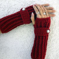 Cranberry red long ribbed with wrist strap crochet button arm warme...... | valkinthreads - Accessories on ArtFire