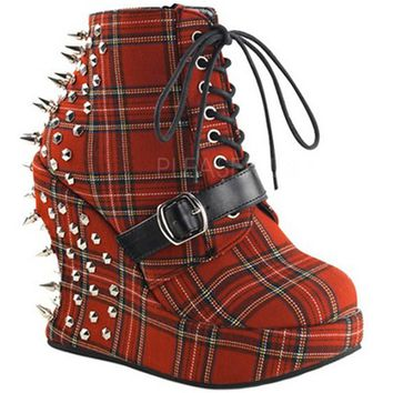 "Women's ""Bravo"" Platforms by Demonia (Red Plaid)"