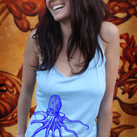 Octopus Wearing Glasses womens soft stretch tank by missionthread