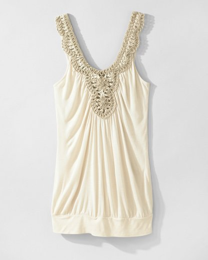 Tunic Tank Top with Metallic Crochet Trim at Newport-News.com