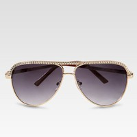 Rhinestone-Trim Aviator Sunglasses at Newport-News.com