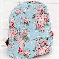MagicPieces Floral Print Blue Canvas School Bag Backpack 042345 Z0504
