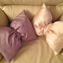 Shantung and Satin Decorative Bow Pillows/ Per by SewForYouByMS