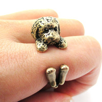 Realistic Toy Poodle Puppy Dog Shaped Animal Wrap Around Ring in Brass | US Sizes 4 to 8.5 -