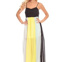 BLACK MULTI CHIFFON COLOR-BLOCK LONG MAXI DRESS