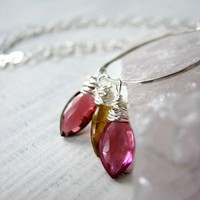 Pink and Gold Tourmaline Necklace | OneLoomStudio - Jewelry on ArtFire