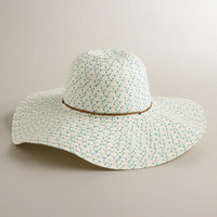 Ivory and Blue Sunhat with Brown Cord - World Market